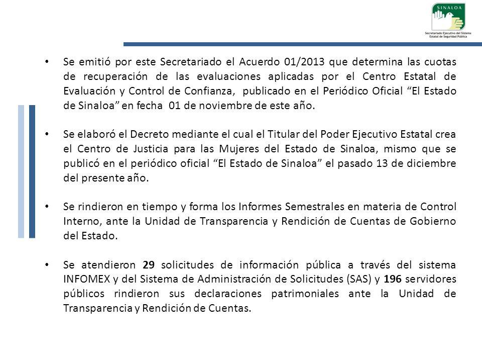 Se emitió por este Secretariado el Acuerdo 01/2013 que determina las cuotas de recuperación de las evaluaciones aplicadas por el Centro Estatal de Eva