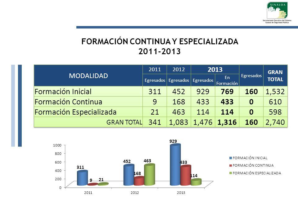 FORMACIÓN CONTINUA Y ESPECIALIZADA 2011-2013