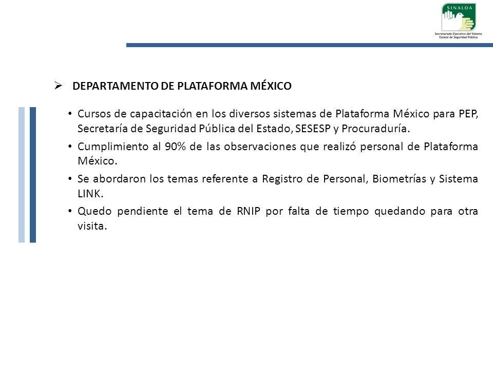 DEPARTAMENTO DE PLATAFORMA MÉXICO Cursos de capacitación en los diversos sistemas de Plataforma México para PEP, Secretaría de Seguridad Pública del E