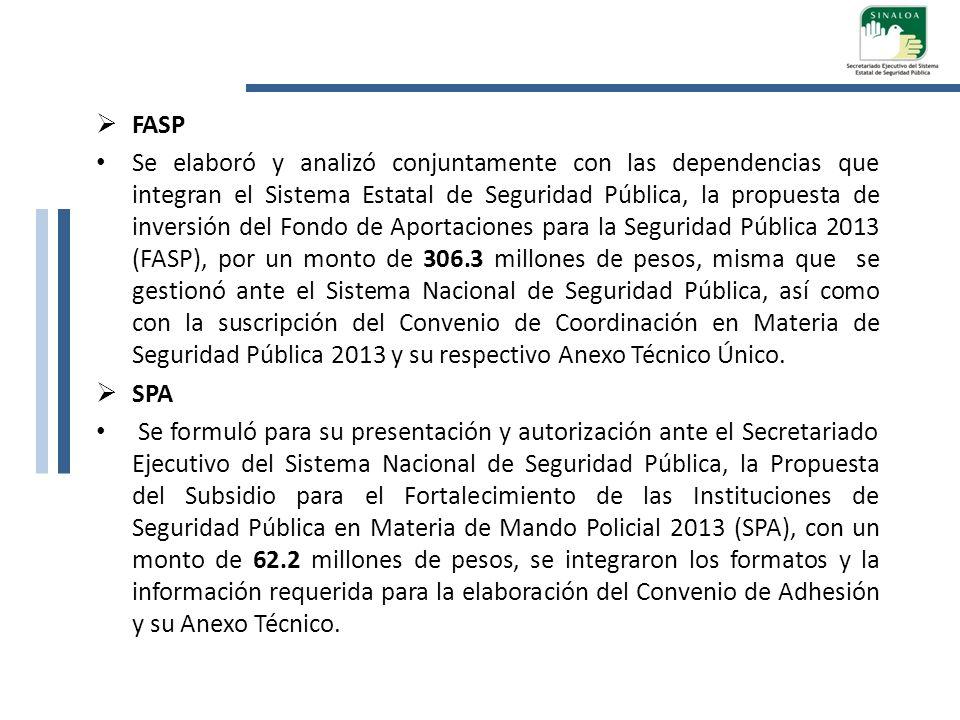 FASP Se elaboró y analizó conjuntamente con las dependencias que integran el Sistema Estatal de Seguridad Pública, la propuesta de inversión del Fondo