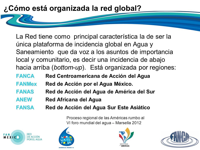 Proceso regional de las Américas rumbo al VI foro mundial del agua – Marsella 2012 ¿Cómo está organizada la red global.