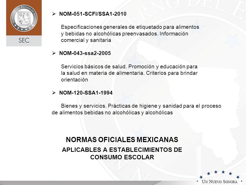NORMAS OFICIALES MEXICANAS APLICABLES A ESTABLECIMIENTOS DE CONSUMO ESCOLAR NOM-051-SCFI/SSA1-2010 Especificaciones generales de etiquetado para alimentos y bebidas no alcohólicas preenvasados.