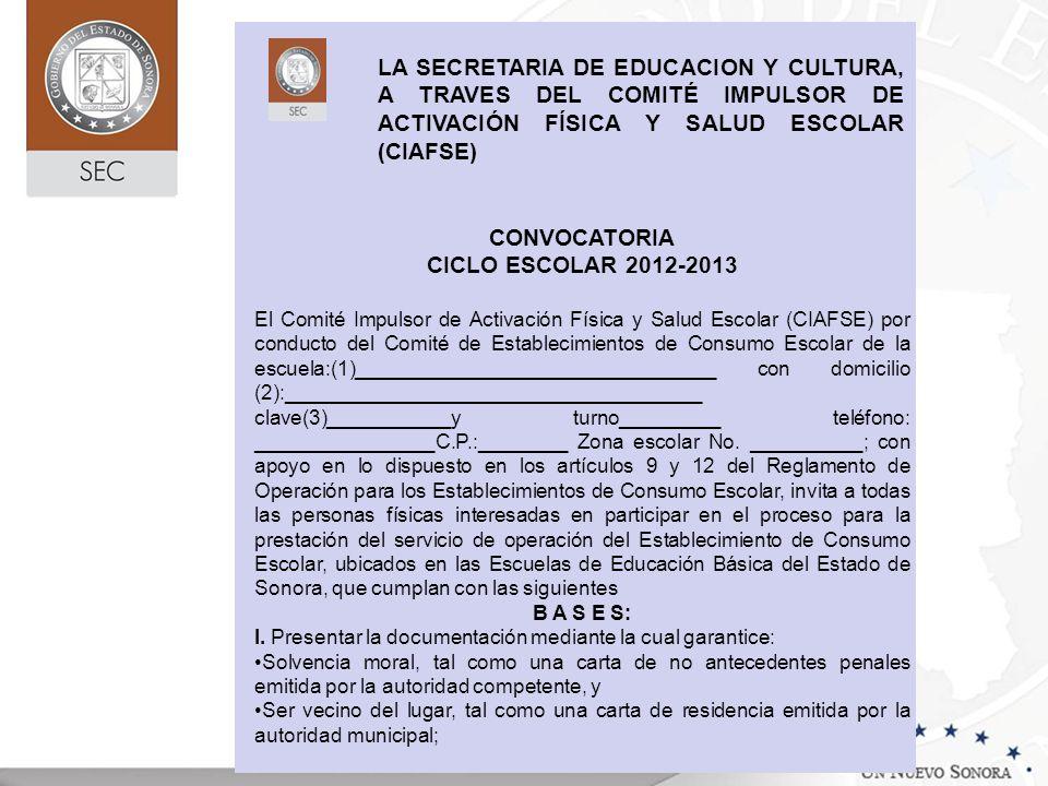 CONVOCATORIA CICLO ESCOLAR 2012-2013 El Comité Impulsor de Activación Física y Salud Escolar (CIAFSE) por conducto del Comité de Establecimientos de C