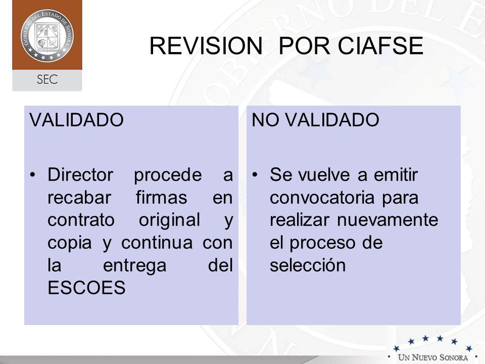 REVISION POR CIAFSE VALIDADO Director procede a recabar firmas en contrato original y copia y continua con la entrega del ESCOES NO VALIDADO Se vuelve