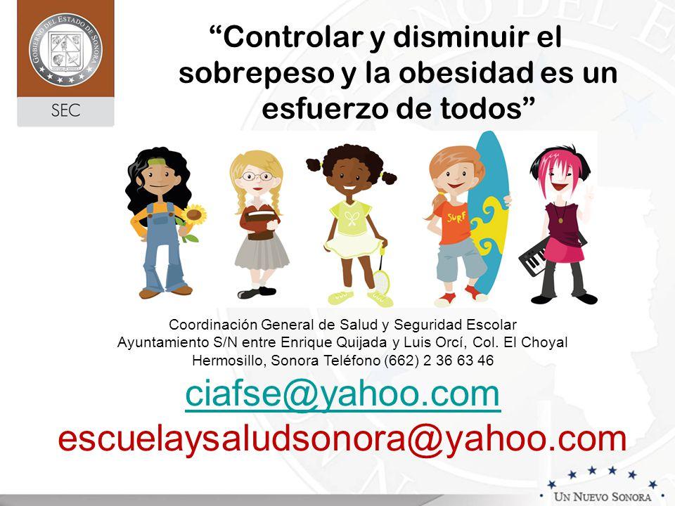 Controlar y disminuir el sobrepeso y la obesidad es un esfuerzo de todos Coordinación General de Salud y Seguridad Escolar Ayuntamiento S/N entre Enri
