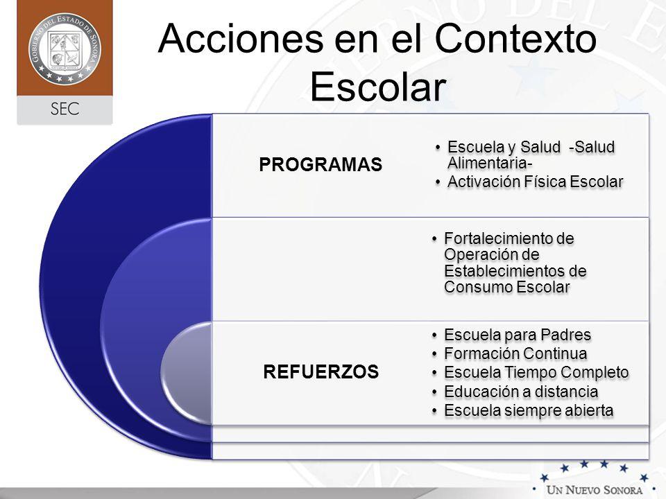 Acciones en el Contexto Escolar PROGRAMAS REFUERZOS Escuela y Salud -Salud Alimentaria- Activación Física Escolar Escuela para Padres Formación Contin