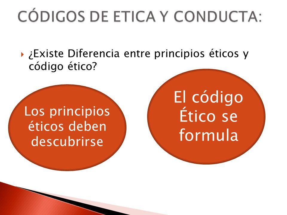 ¿Existe Diferencia entre principios éticos y código ético? Los principios éticos deben descubrirse El código Ético se formula
