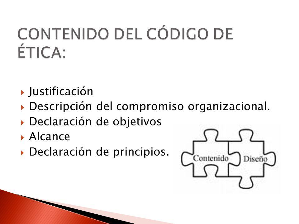 Justificación Descripción del compromiso organizacional. Declaración de objetivos Alcance Declaración de principios.