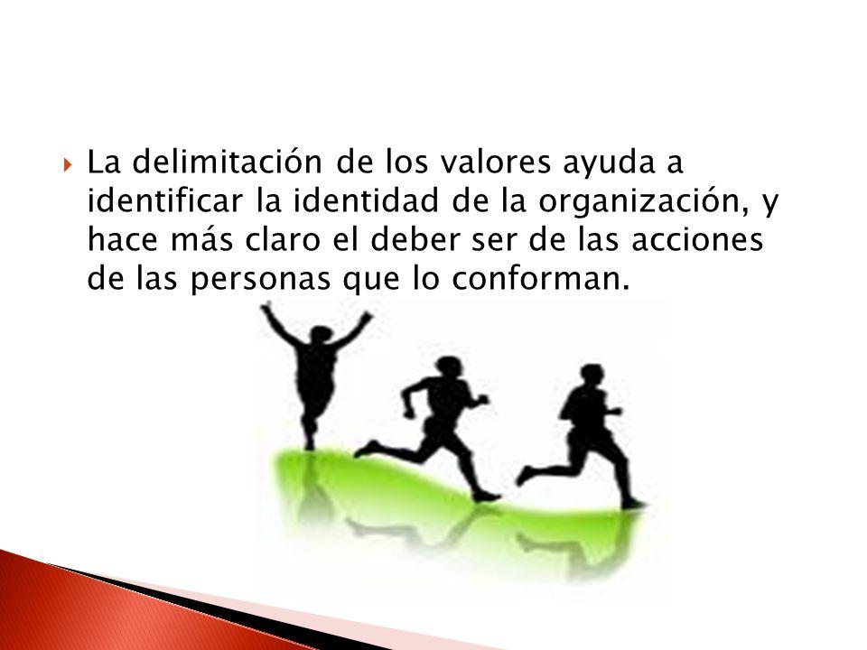 La delimitación de los valores ayuda a identificar la identidad de la organización, y hace más claro el deber ser de las acciones de las personas que