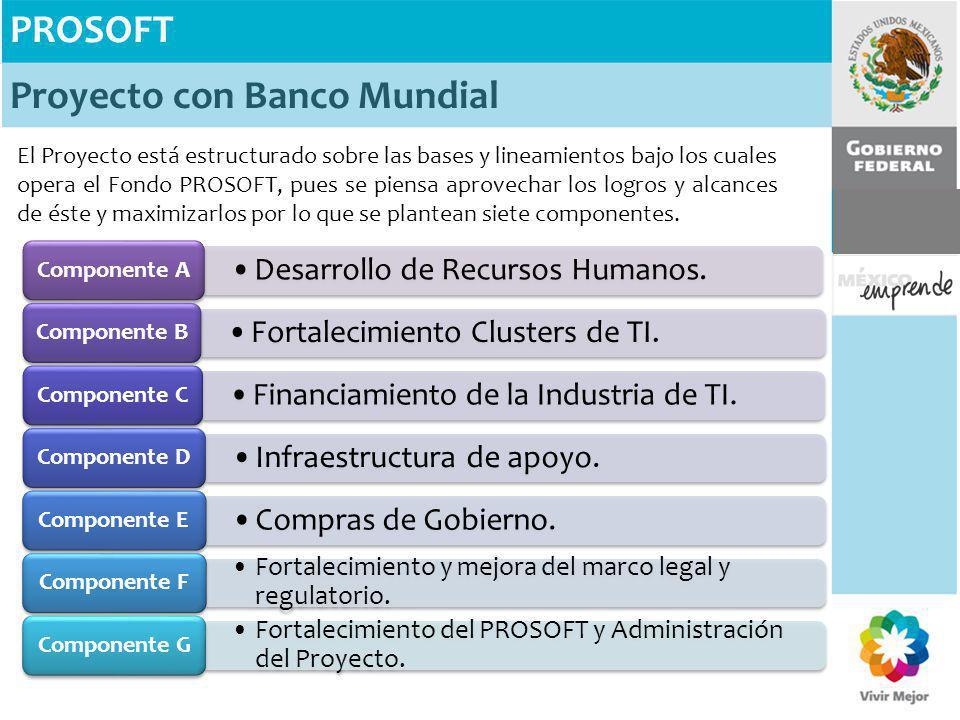 PROSOFT Proyecto con Banco Mundial El Proyecto está estructurado sobre las bases y lineamientos bajo los cuales opera el Fondo PROSOFT, pues se piensa