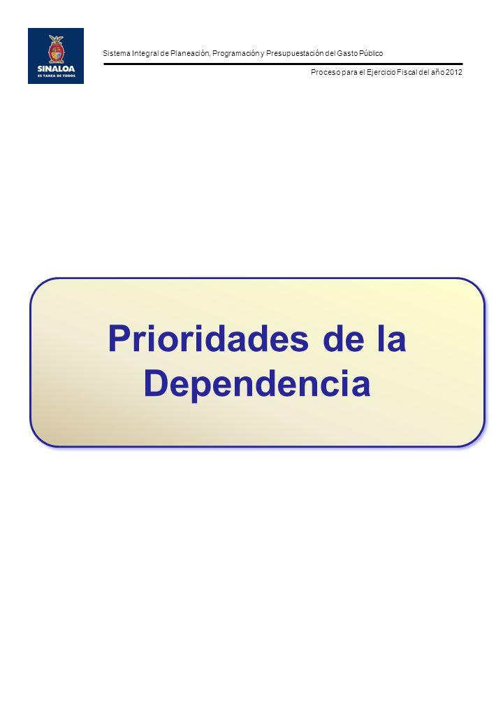 Sistema Integral de Planeación, Programación y Presupuestación del Gasto Público Proceso para el Ejercicio Fiscal del año 2012 Prioridades de la Dependencia
