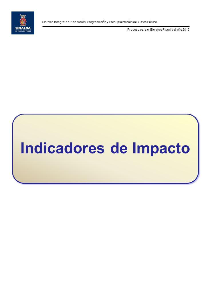 Sistema Integral de Planeación, Programación y Presupuestación del Gasto Público Proceso para el Ejercicio Fiscal del año 2012 Indicadores de Impacto