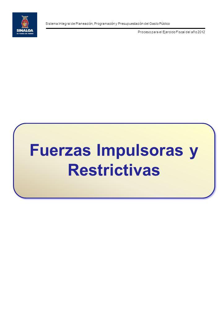 Sistema Integral de Planeación, Programación y Presupuestación del Gasto Público Proceso para el Ejercicio Fiscal del año 2012 Fuerzas Impulsoras y Restrictivas