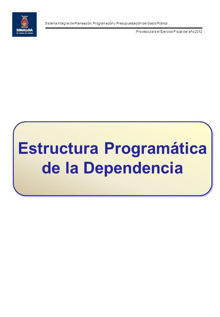 Sistema Integral de Planeación, Programación y Presupuestación del Gasto Público Proceso para el Ejercicio Fiscal del año 2012 Estructura Programática de la Dependencia