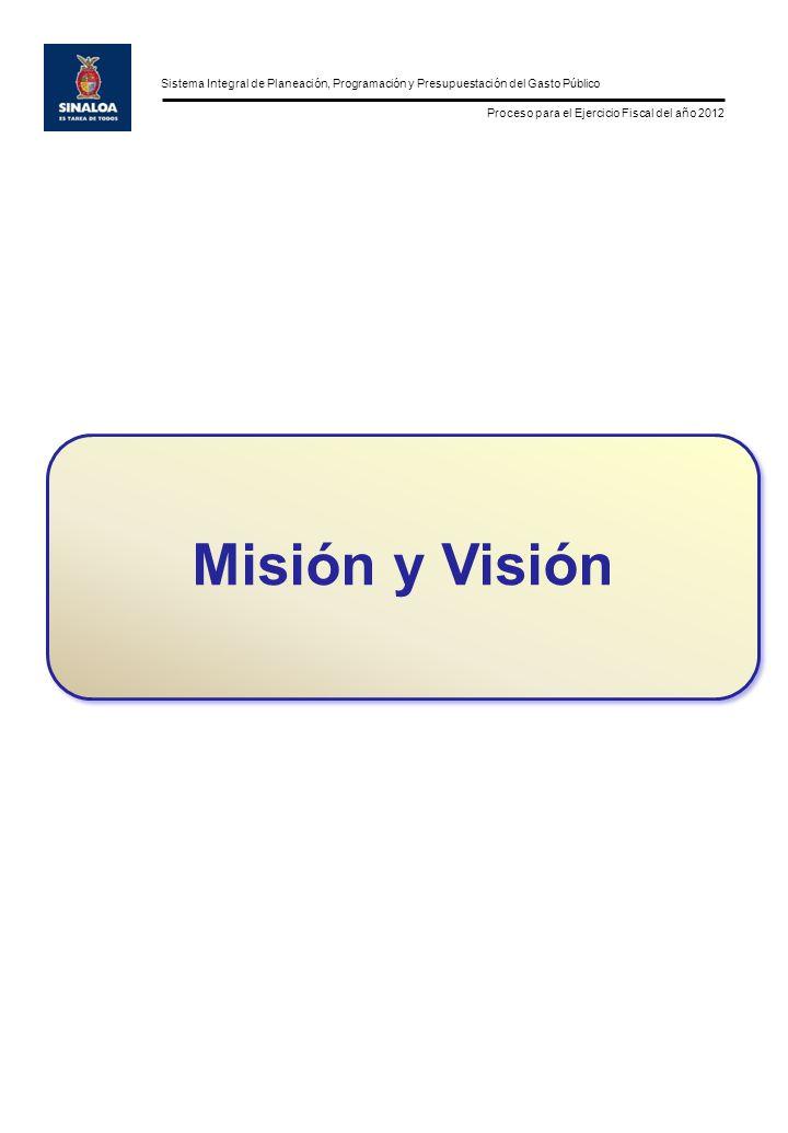 Sistema Integral de Planeación, Programación y Presupuestación del Gasto Público Proceso para el Ejercicio Fiscal del año 2012 Misión y Visión