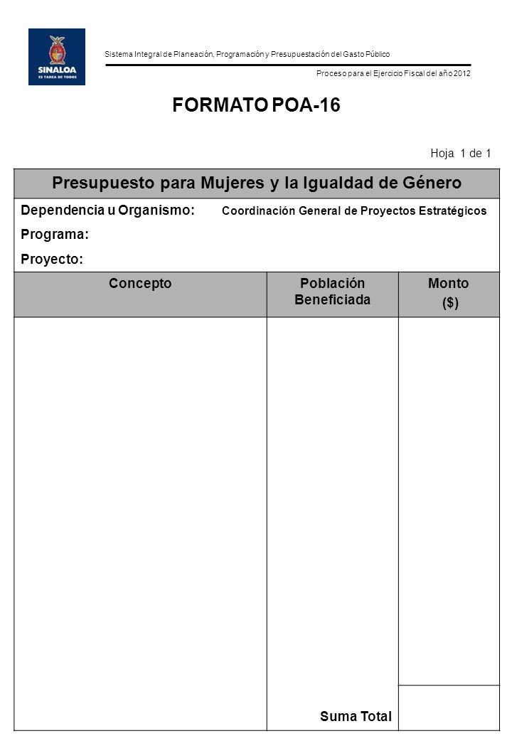 Sistema Integral de Planeación, Programación y Presupuestación del Gasto Público Proceso para el Ejercicio Fiscal del año 2012 FORMATO POA-16 Hoja 1 de 1 Presupuesto para Mujeres y la Igualdad de Género Dependencia u Organismo: Coordinación General de Proyectos Estratégicos Programa: Proyecto: ConceptoPoblación Beneficiada Monto ($) Suma Total