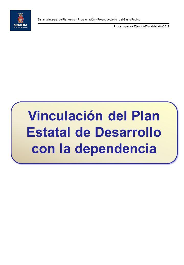 Sistema Integral de Planeación, Programación y Presupuestación del Gasto Público Proceso para el Ejercicio Fiscal del año 2012 Vinculación del Plan Estatal de Desarrollo con la dependencia