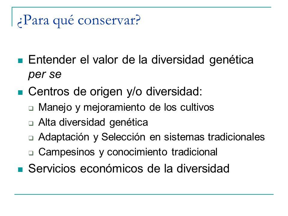 ¿Para qué conservar? Entender el valor de la diversidad genética per se Centros de origen y/o diversidad: Manejo y mejoramiento de los cultivos Alta d