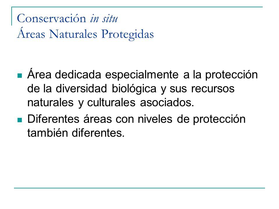 Conservación in situ Áreas Naturales Protegidas Área dedicada especialmente a la protección de la diversidad biológica y sus recursos naturales y cult
