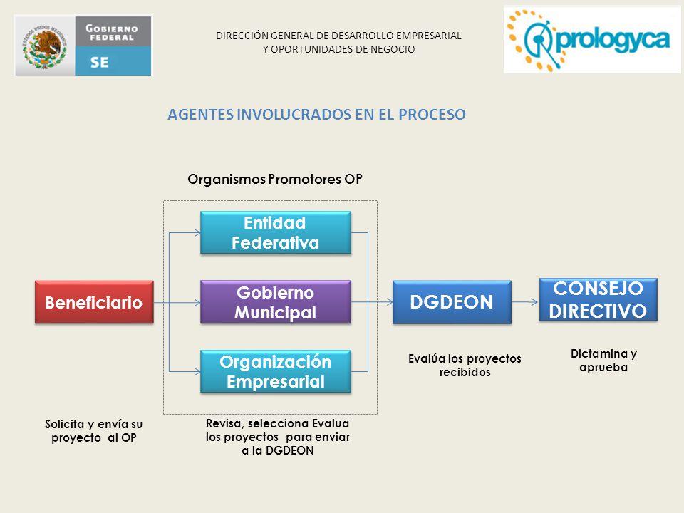 DIRECCIÓN GENERAL DE DESARROLLO EMPRESARIAL Y OPORTUNIDADES DE NEGOCIO Revisa, selecciona Evalua los proyectos para enviar a la DGDEON Beneficiario En