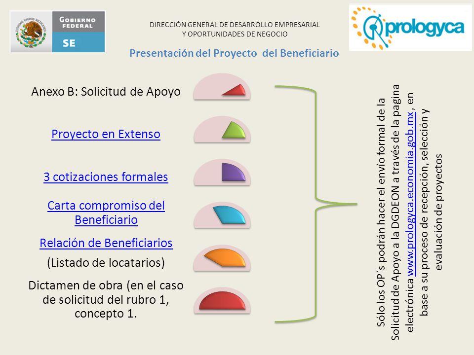DIRECCIÓN GENERAL DE DESARROLLO EMPRESARIAL Y OPORTUNIDADES DE NEGOCIO Anexo B: Solicitud de Apoyo Proyecto en Extenso3 cotizaciones formales Carta co