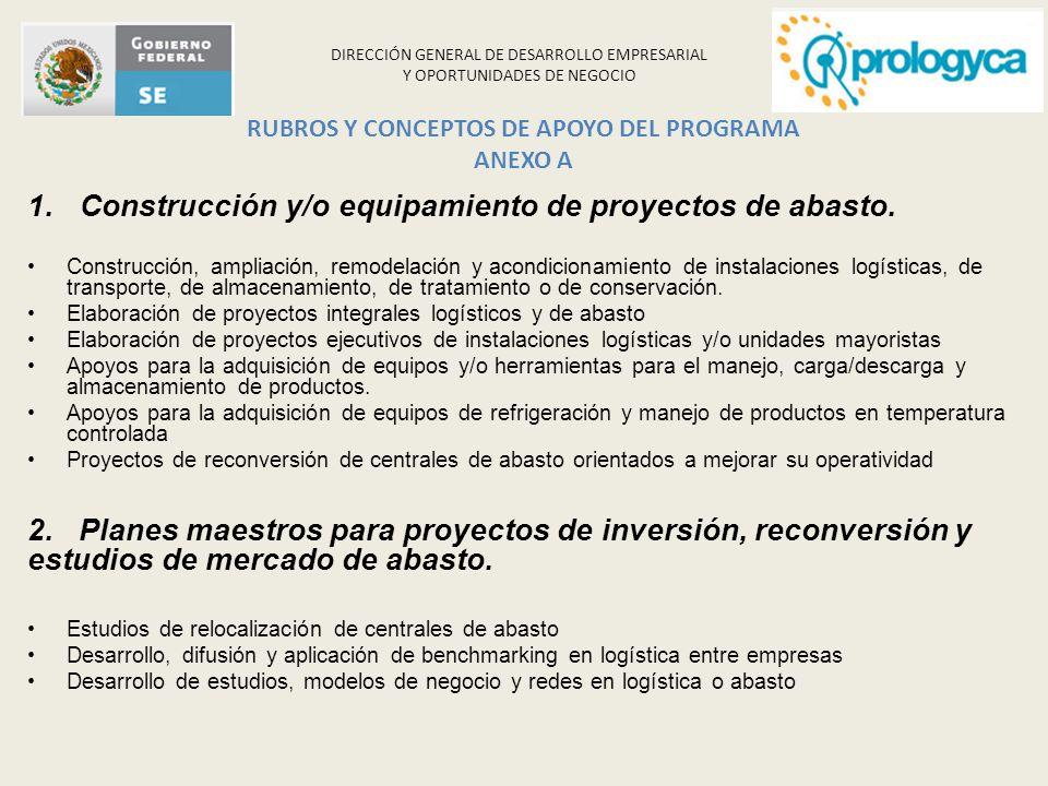 DIRECCIÓN GENERAL DE DESARROLLO EMPRESARIAL Y OPORTUNIDADES DE NEGOCIO RUBROS Y CONCEPTOS DE APOYO DEL PROGRAMA ANEXO A 1.Construcción y/o equipamient