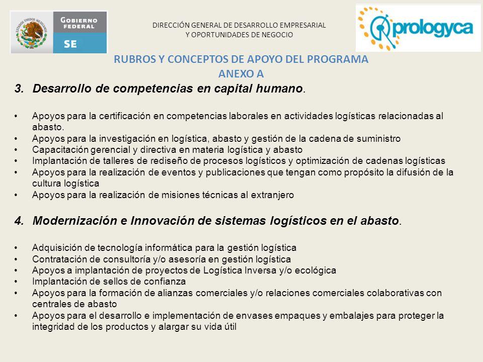 DIRECCIÓN GENERAL DE DESARROLLO EMPRESARIAL Y OPORTUNIDADES DE NEGOCIO 3.Desarrollo de competencias en capital humano. Apoyos para la certificación en