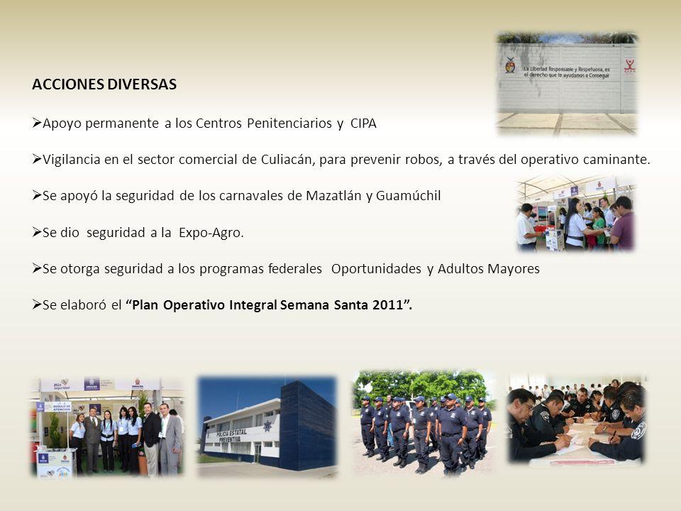 Apoyo permanente a los Centros Penitenciarios y CIPA Vigilancia en el sector comercial de Culiacán, para prevenir robos, a través del operativo caminante.