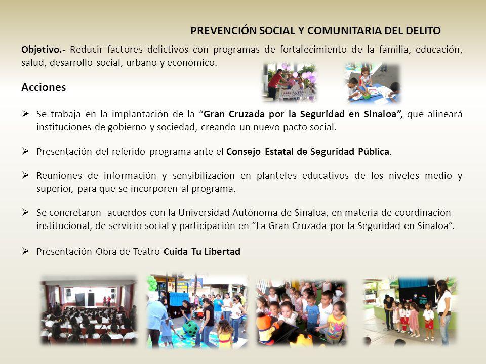 PREVENCIÓN SOCIAL Y COMUNITARIA DEL DELITO Objetivo.- Reducir factores delictivos con programas de fortalecimiento de la familia, educación, salud, desarrollo social, urbano y económico.