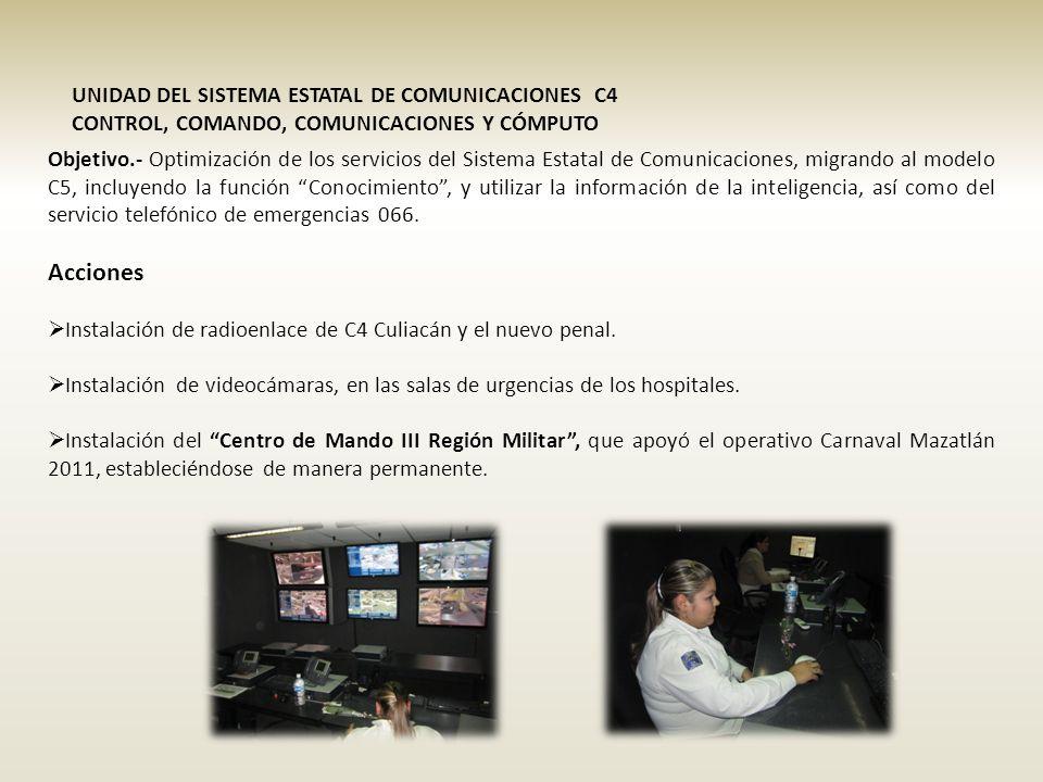 UNIDAD DEL SISTEMA ESTATAL DE COMUNICACIONES C4 CONTROL, COMANDO, COMUNICACIONES Y CÓMPUTO Objetivo.- Optimización de los servicios del Sistema Estatal de Comunicaciones, migrando al modelo C5, incluyendo la función Conocimiento, y utilizar la información de la inteligencia, así como del servicio telefónico de emergencias 066.