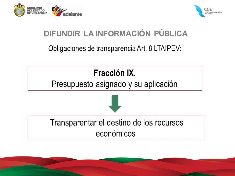 DIFUNDIR LA INFORMACIÓN PÚBLICA Obligaciones de transparencia Art. 8 LTAIPEV: Transparentar el destino de los recursos económicos Fracción IX. Presupu