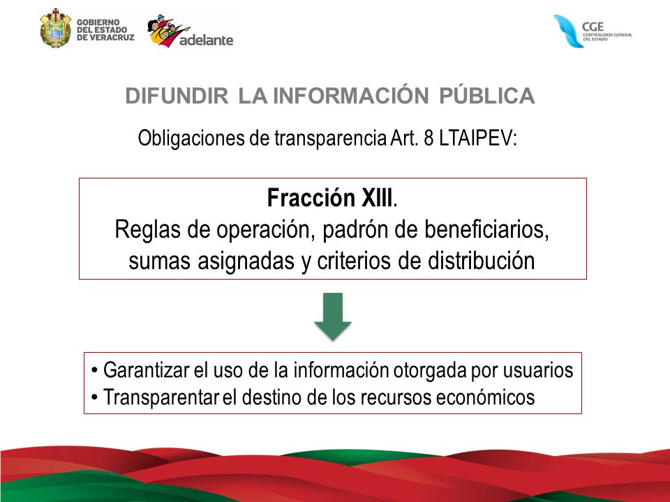 DIFUNDIR LA INFORMACIÓN PÚBLICA Obligaciones de transparencia Art. 8 LTAIPEV: Fracción XIII. Reglas de operación, padrón de beneficiarios, sumas asign