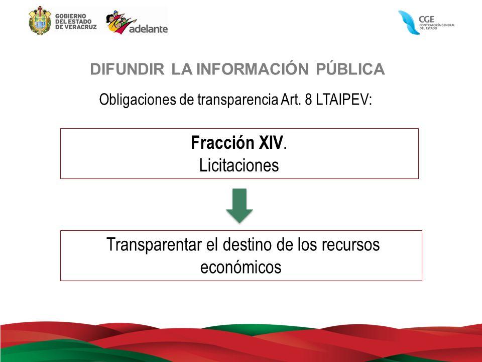 DIFUNDIR LA INFORMACIÓN PÚBLICA Obligaciones de transparencia Art. 8 LTAIPEV: Fracción XIV. Licitaciones Transparentar el destino de los recursos econ