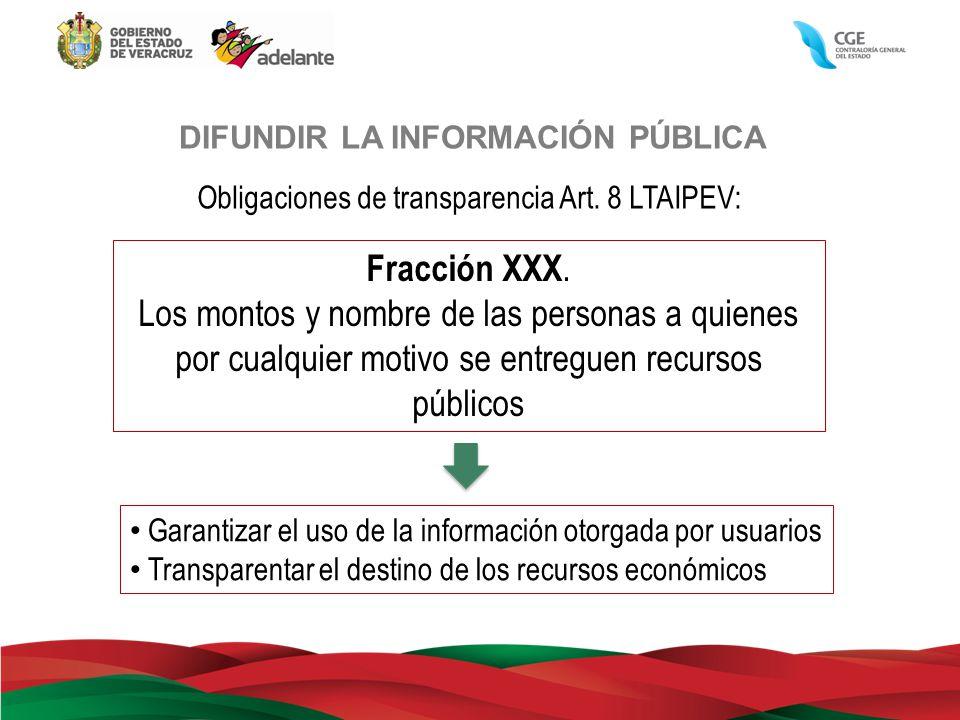 DIFUNDIR LA INFORMACIÓN PÚBLICA Obligaciones de transparencia Art. 8 LTAIPEV: Fracción XXX. Los montos y nombre de las personas a quienes por cualquie