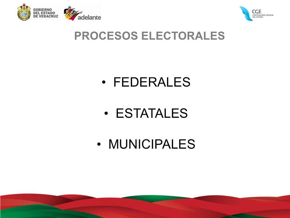 PROCESOS ELECTORALES FEDERALES ESTATALES MUNICIPALES