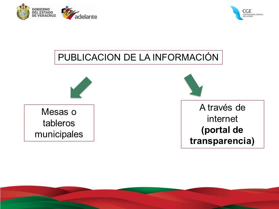 A través de internet (portal de transparencia) PUBLICACION DE LA INFORMACIÓN Mesas o tableros municipales