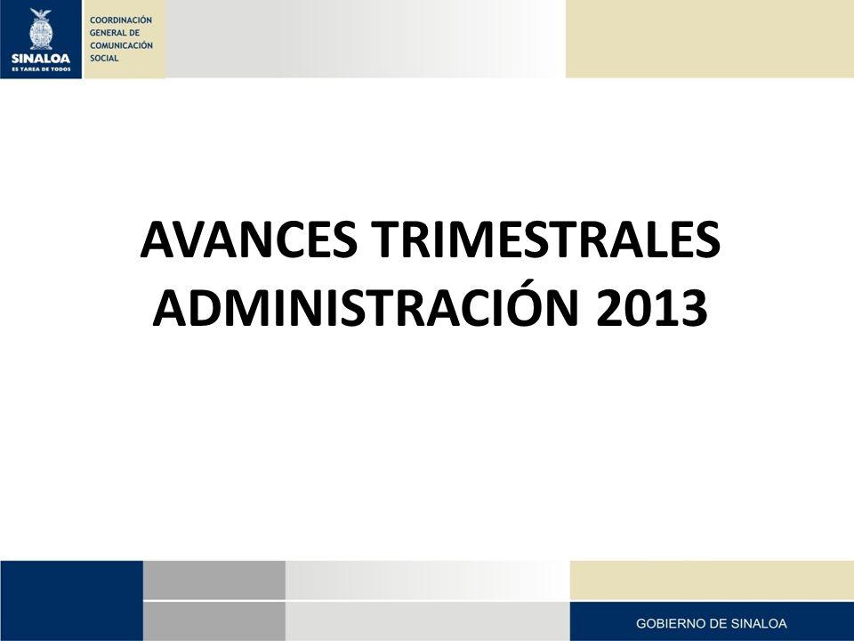 AVANCES TRIMESTRALES ADMINISTRACIÓN 2013