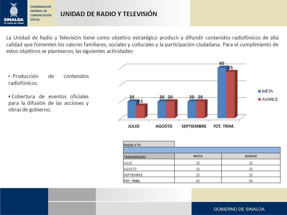 UNIDAD DE RADIO Y TELEVISIÓN La Unidad de Radio y Televisión tiene como objetivo estratégico producir y difundir contenidos radiofónicos de alta calidad que fomenten los valores familiares, sociales y culturales y la participación ciudadana.