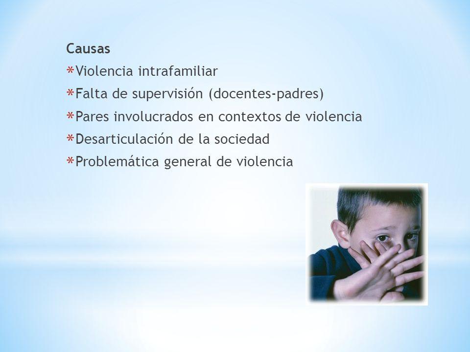 Causas *Violencia intrafamiliar *Falta de supervisión (docentes-padres) *Pares involucrados en contextos de violencia *Desarticulación de la sociedad