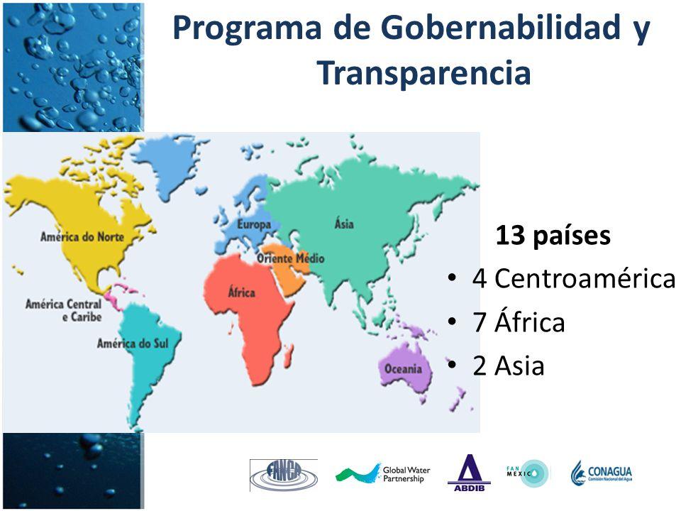 Programa de Gobernabilidad y Transparencia 13 países 4 Centroamérica 7 África 2 Asia