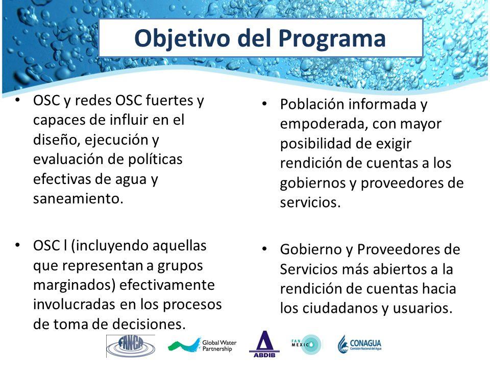 OSC y redes OSC fuertes y capaces de influir en el diseño, ejecución y evaluación de políticas efectivas de agua y saneamiento. OSC l (incluyendo aque