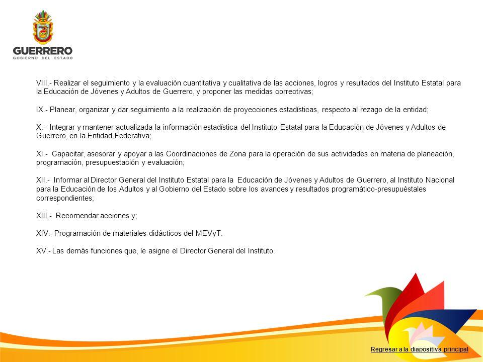 Regresar a la diapositiva principal VIII.- Realizar el seguimiento y la evaluación cuantitativa y cualitativa de las acciones, logros y resultados del