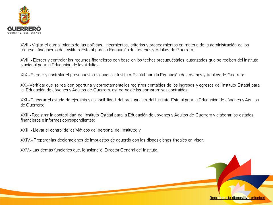 Regresar a la diapositiva principal XVII.- Vigilar el cumplimiento de las políticas, lineamientos, criterios y procedimientos en materia de la adminis