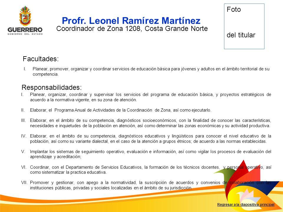 Facultades: Responsabilidades: Regresar a la diapositiva principal I.Planear, promover, organizar y coordinar servicios de educación básica para jóven
