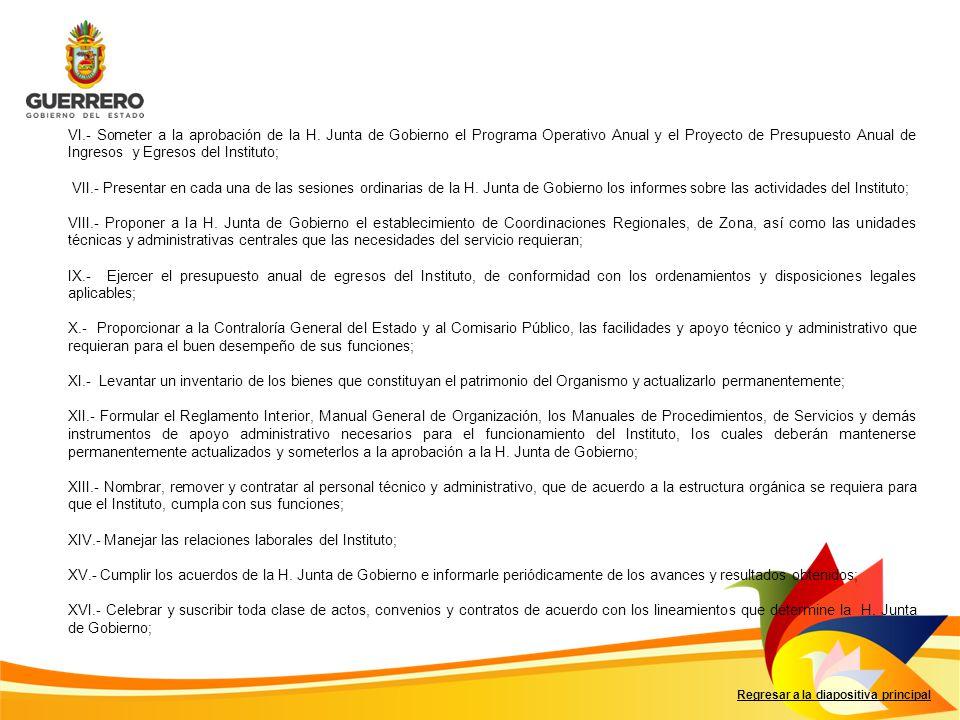 Regresar a la diapositiva principal VI.- Someter a la aprobación de la H. Junta de Gobierno el Programa Operativo Anual y el Proyecto de Presupuesto A