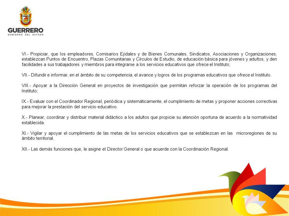 VI.- Propiciar, que los empleadores, Comisarios Ejidales y de Bienes Comunales, Sindicatos, Asociaciones y Organizaciones, establezcan Puntos de Encue