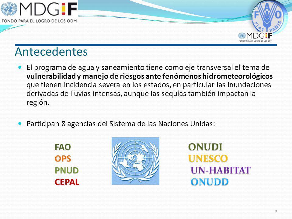 Antecedentes El Sistema de las Naciones Unidas en México lleva a cabo un Programa Conjunto de Agua y Saneamiento que tiene por objeto apoyar el cumpli
