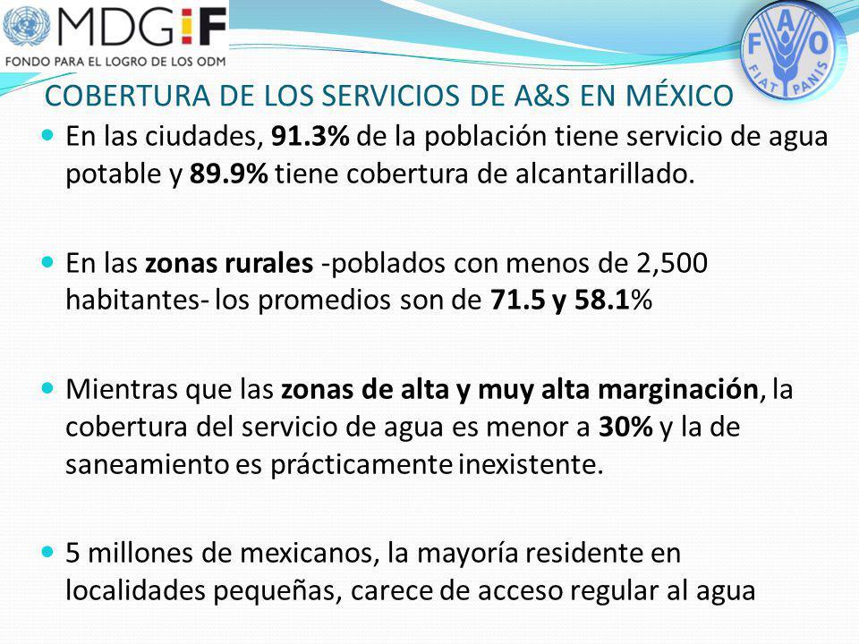 Metas nacionales de agua y saneamiento en México FUENTE: CONAGUA En México se cumplirá con las Metas del Milenio a nivel nacional 6