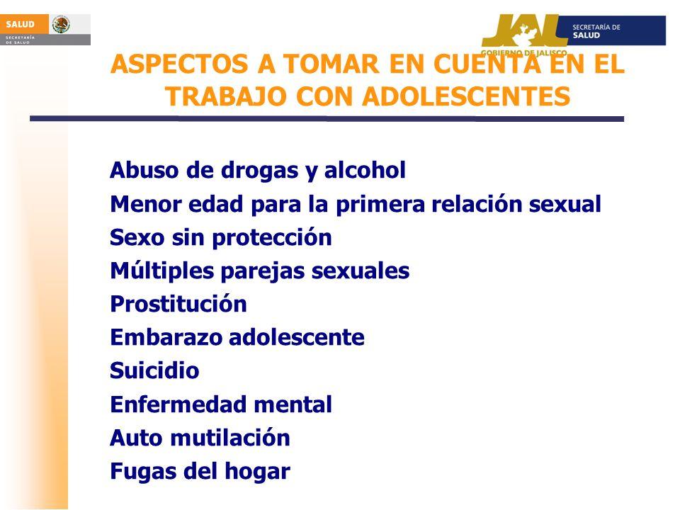 ASPECTOS A TOMAR EN CUENTA EN EL TRABAJO CON ADOLESCENTES Abuso de drogas y alcohol Menor edad para la primera relación sexual Sexo sin protección Múl