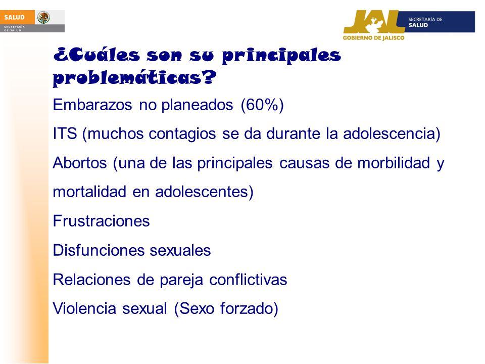 ¿Cuáles son su principales problemáticas? Embarazos no planeados (60%) ITS (muchos contagios se da durante la adolescencia) Abortos (una de las princi